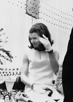 Jacqueline Kennedy, Riding In An Open Art Print by Everett