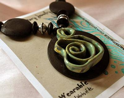 Jade Pottery Swirl Necklace Original by Amanda  Sanford