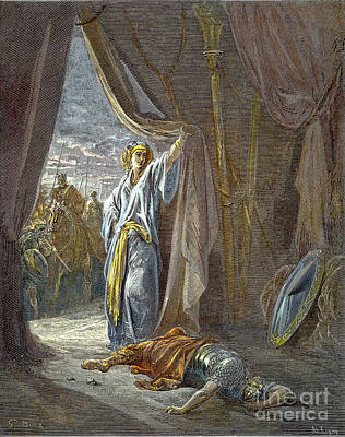 Drawing - Jael Smites Sisera by Gustave Dore