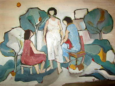 Painting - Jaffa Ladies Impressions Of Women Sitting Outside In Nature Trees Chair Stool Talking Green White  by Rachel Hershkovitz