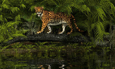 Digital Art - Jaguar by Walter Colvin