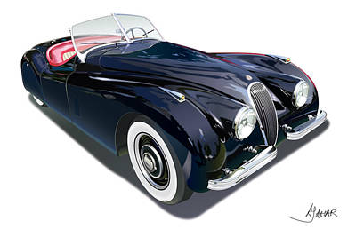 Jaguar Xk 120 On White Art Print