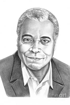 Famous People Drawing - James Earl Jones by Murphy Elliott