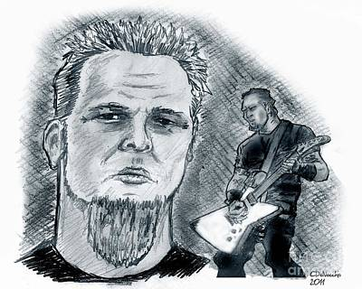 Drawing - James Hetfield2 by Chris  DelVecchio