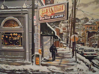 Art Print featuring the painting James Street Restaurant  by James Guentner