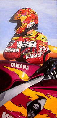 Motorcycle Racing Painting - Jamie James - Yamaha Yzf by Jeff Taylor