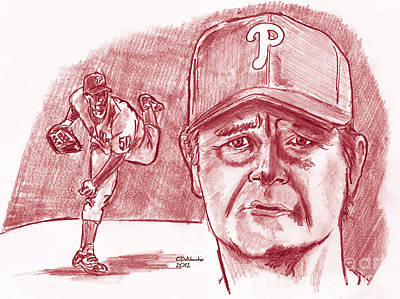 Drawing - Jamie Moyer by Chris  DelVecchio