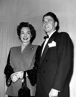 Jane Wyman And Husband Ronald Reagan Art Print by Everett