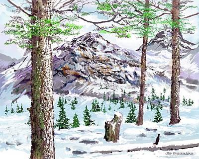Snow Scene Landscape Drawing - January Morning by Jim Hubbard