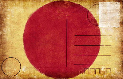Japan Flag Postcard Art Print by Setsiri Silapasuwanchai