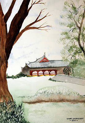 Japan House Art Print by Diane Vasarkovy