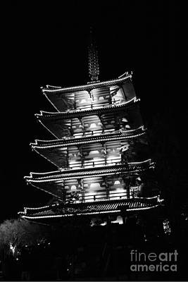 Photograph - Japan Pavilion Goju-no-to Pagoda At Night Epcot Walt Disney World Prints Black And White by Shawn O'Brien