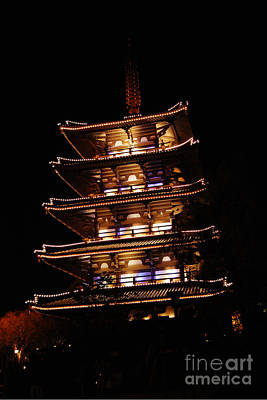 Photograph - Japan Pavilion Goju-no-to Pagoda At Night Epcot Walt Disney World Prints by Shawn O'Brien