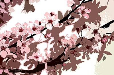 Pink Flower Branch Painting - Japanese Blossom  by Sarah O Toole