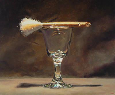 Japanese Brush And Wineglass Art Print by Jeffrey Hayes