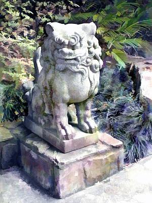 Garden Statuary Painting - Japanese Garden Lion Dog Statue 2 by Elaine Plesser