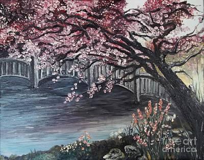 Japanese Garden Cherry Blossom Paintings japanese garden paintingrhonda lee
