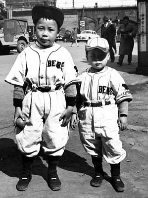 Japanese Kids Wearing American Baseball Art Print