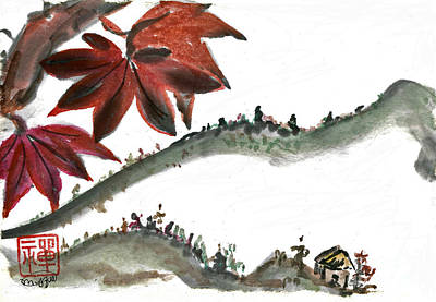 State-of-no-mind Painting - Japanese Maple Leaf by Ellen Miffitt