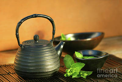 Chinese Herbs Photograph - Japanese Teapot And Cup  by Sandra Cunningham