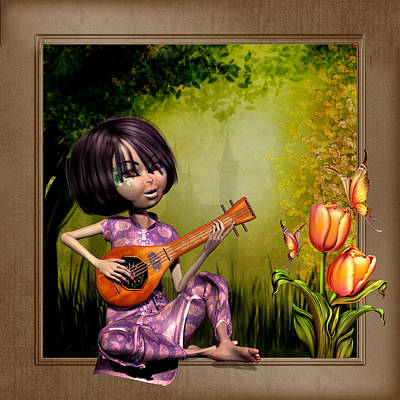 Japanese Woman Playing The Lute Art Print by John Junek