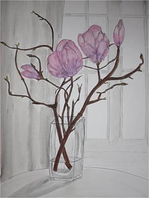 Magnolia Flower Drawing - Jar Of Magnolias by Silvia Louro