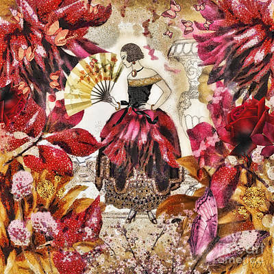 Art Deco Mixed Media - Jardin Des Papillons by Mo T