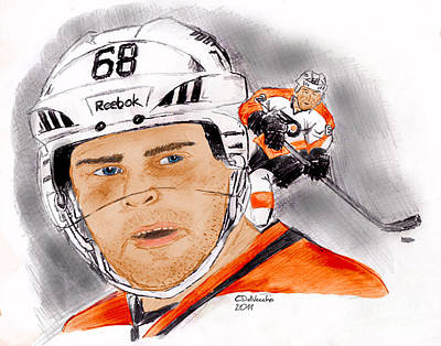 Drawing - Jaromir Jagr- Color by Chris  DelVecchio