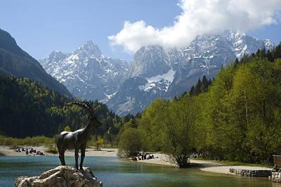 Jasna Lake In Julian Alps With Statue Of Mythical Chamois Zlatorog Art Print by John Elk III