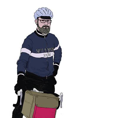 Bike Drawing - Jason - Cyclist by Karl Addison