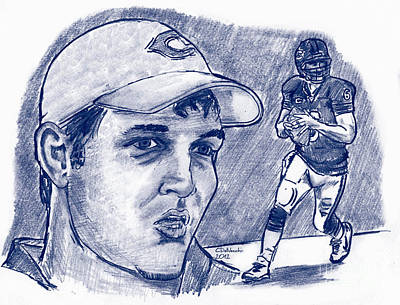 Drawing - Jay Cutler by Chris  DelVecchio