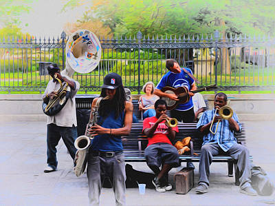 Jazz Band Digital Art - Jazz Band At Jackson Square by Bill Cannon