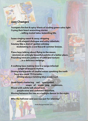 Painting - Jazz Changes - Poem by Anita Burgermeister