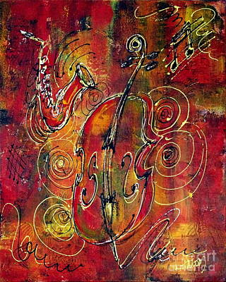 Bass Cello Painting - Jazz by Greg and Linda Halom