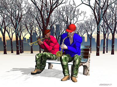 Jazzmas In The Park 1 Art Print by Walter Oliver Neal