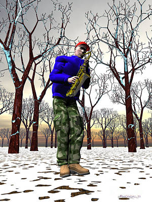 Jazzmas In The Park 3 Art Print by Walter Oliver Neal