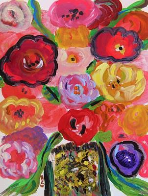 Jazzy Drawing - Jazzy Flowers Jazzy Vase by Mary Carol Williams