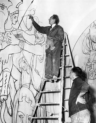 Jean Cocteau Photograph - Jean Cocteau Works On The Mural by Everett