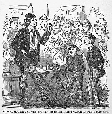 Jean Eugene Robert Houdin (1805-1871). French Magician. Wood Engraving, C1880, From An American Edition Of Houdins Autobiography, Depicting His First Childhood Encounter With A Street Magician Art Print by Granger