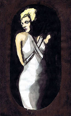 Evening Gown Drawing - Jean Harlow 2 by Mel Thompson