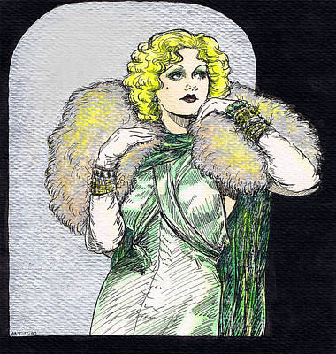 Platinum Drawing - Jean Harlow by Mel Thompson