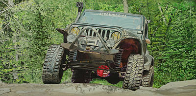 Custom Studio Painting - Jeep On The Rocks by Jeff Taylor