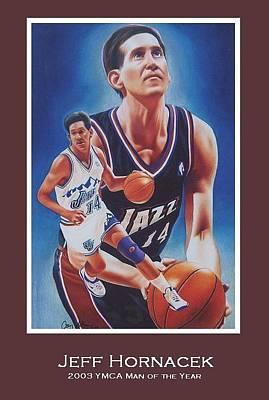 Utah Jazz Drawing - Jeff Hornacek by Cory McKee