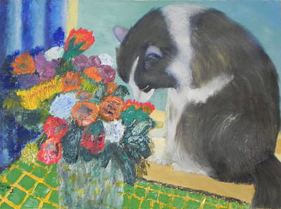 Painting - Jeffy With Bouquet by Ernie Goldberg