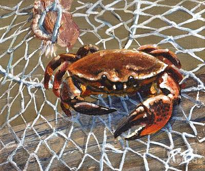 Art Print featuring the painting Jekyll Stone Crab by Pat Burns