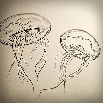 Brush Wall Art - Photograph - #jellyfish #drawing by Jeff Reinhardt