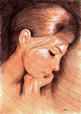 Color Pencil Drawing - Jenny by Hakon Soreide