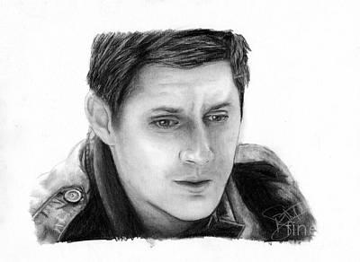 Supernatural Drawing - Jensen Ackles by Rosalinda Markle
