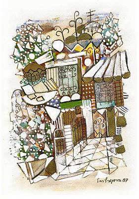 Painting - Jerusalem Alleys 3 In Green Brown White by Rachel Hershkovitz