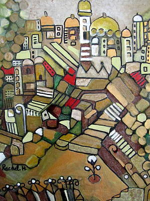 Painting - Jerusalem Alleys 7 Lacquer On Canvas With Stairs Mosques Minarettes Domes Flower Fences  by Rachel Hershkovitz